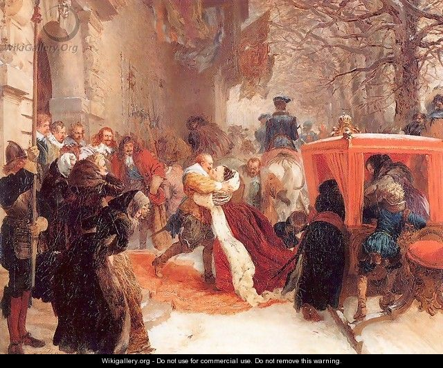 Gustav Adolph Greets his Wife outside Hanau Castle in January 1632, 1847 - Adolph von Menzel