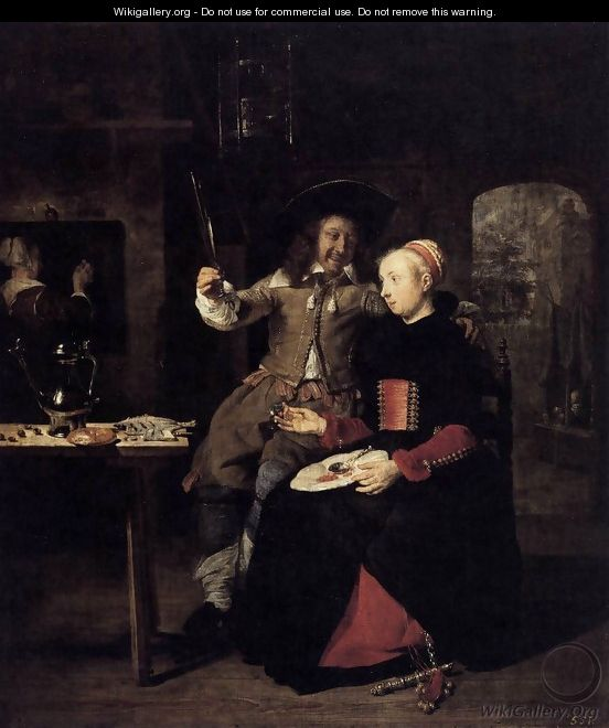Portrait of the Artist with His Wife Isabella de Wolff in a Tavern 1661 - Gabriel Metsu