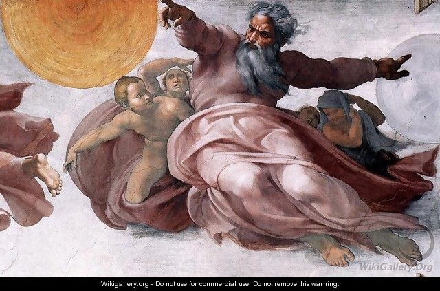 Creation of the Sun, Moon, and Plants (detail-1) 1511 - Michelangelo Buonarroti