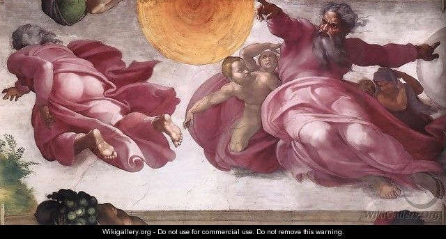 Creation of the Sun, Moon, and Plants 1511 - Michelangelo Buonarroti
