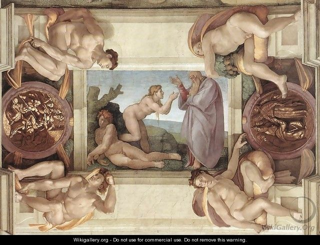 Creation of Eve (with ignudi and medallions) 1509-10 - Michelangelo Buonarroti
