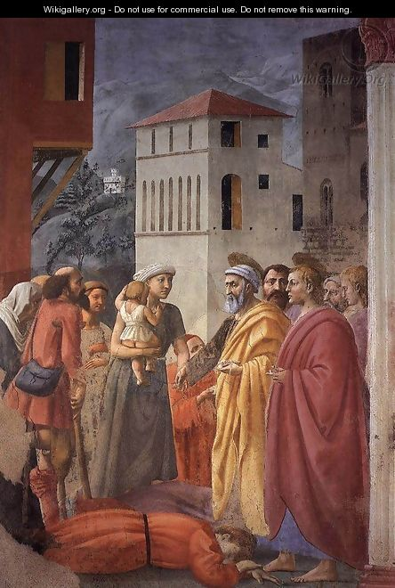 The Distribution of Alms and the Death of Ananias 1426-27 - Masaccio (Tommaso di Giovanni)