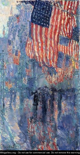 The Avenue in the Rain - Frederick Childe Hassam