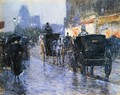 Horse Drawn Cabs at Evening, New York 2 - Frederick Childe Hassam