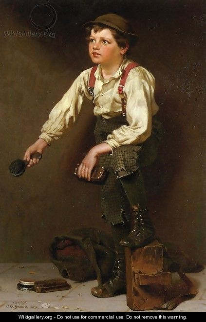 Shoe Shine Boy I - John George Brown