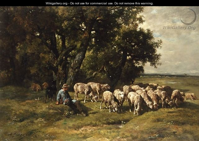 A Shepherd with His Flock - Charles Émile Jacque
