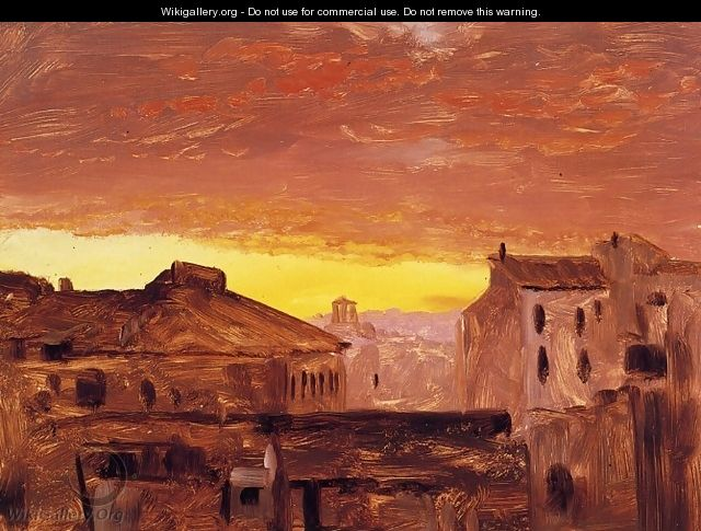 Rooftops at Sunset, Rome, Italy - Frederic Edwin Church