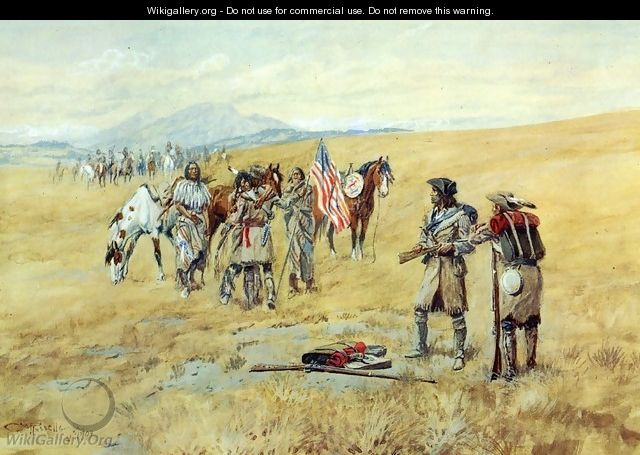 Captain Lewis Meeting the Shoshones I - Charles Marion Russell