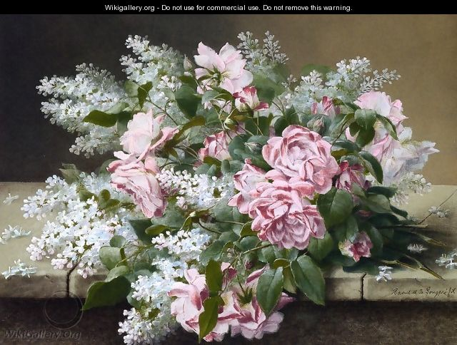 Roses on a Marble Tabletop - Raoul Maucherat de Longpre