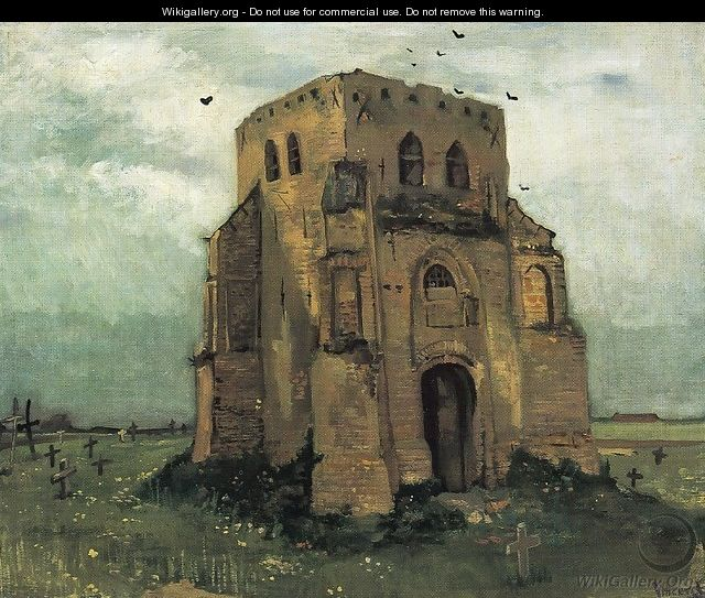 Country Churchyard and Old Church Tower - Vincent Van Gogh