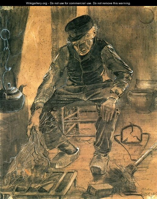 An Old Man Putting Dry Rice on the Hearth - Vincent Van Gogh