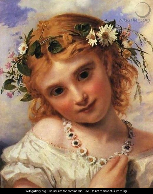 Young Girl with a Garland of Marguerites - Sophie Gengembre Anderson