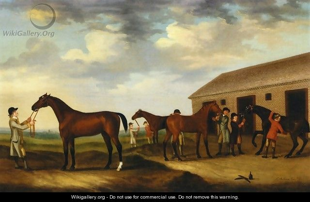 Four Racehorses outside the Rubbing Down House, Newmarket I - Francis Sartorius