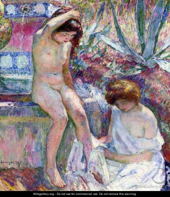 Marthe and Madame Lebasque at the Fountain - Henri Lebasque