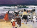 The Beach at Biarritz (sketch) - Joaquin Sorolla y Bastida