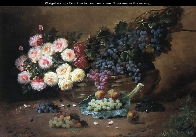 Still Life with Roses and Grapes - Max Carlier
