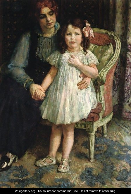 Portrait of Madame Goldner=Max and Her Daughter Juliette - Theo van Rysselberghe