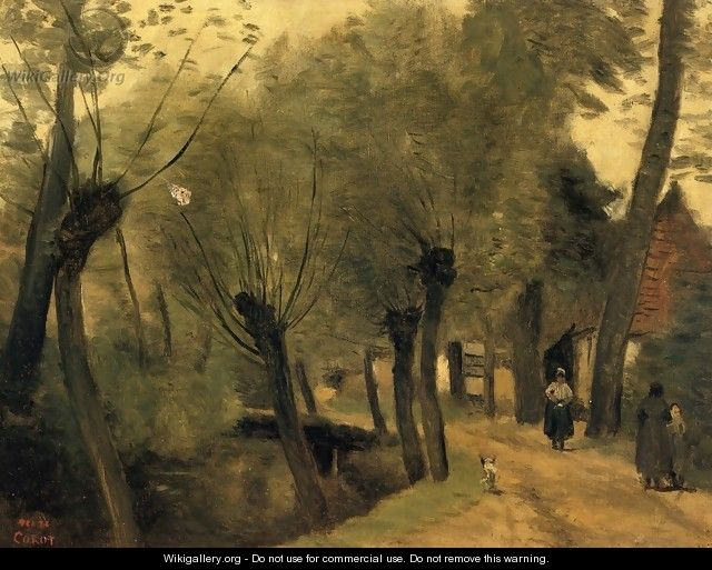 LaBuissiere, near Bethune (pas de Calais): Lane Bordered by Willows - Jean-Baptiste-Camille Corot
