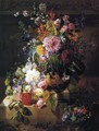 Still Life with Roses, Peonies, Lilac, Morning Glories and other Flowers in a Greek Vase on a Stone Plinth - Georgius van Os