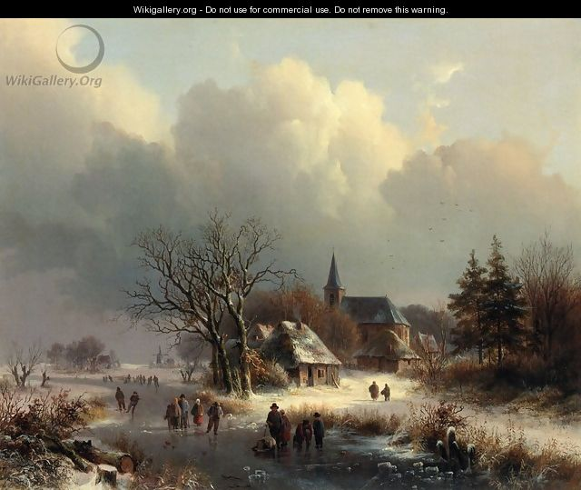 Figures on a Frozen River in Winter - Johann Bernard Klombeck