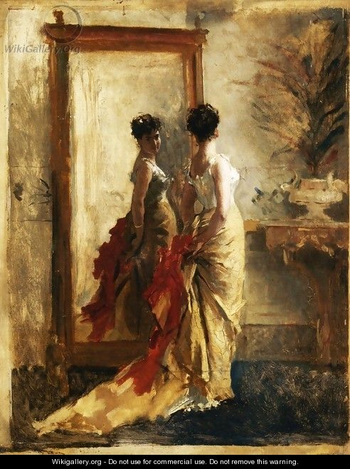 Woman in front of a Mirror - Mose Bianchi