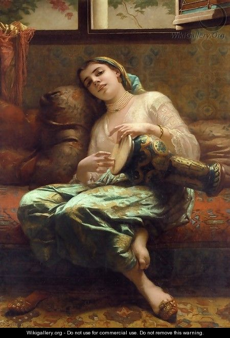 Algerian Woman Playing a Darbouka - Charles Zacharie Landelle