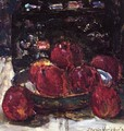 A Still Life with Red Apples on a Dish and a Japanese Lacquer Box - Floris Verster