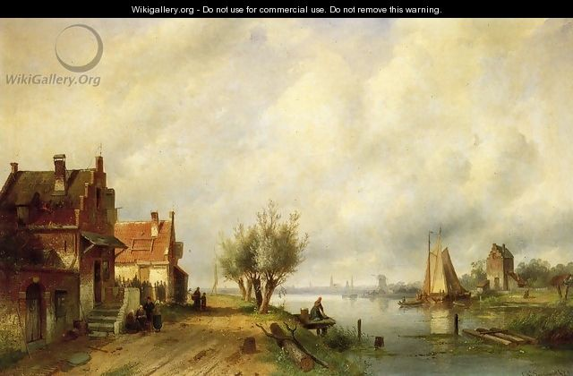 A River Landscape in Summer with Peasants Conversing by Old Houses along a Road, Moored Shipping Across, a Town in the Distance - Charles Henri Leickert