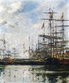 The Port, Ships at Dock - Eugène Boudin