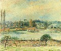 View of Bazincourt, Flood, Morning Effect - Camille Pissarro