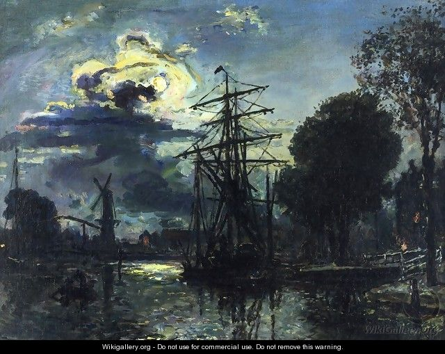 Canal in the Moonlight - Johan Barthold Jongkind