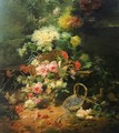 Still Life with Flowers and Playful Chicks - Eugene Bidau