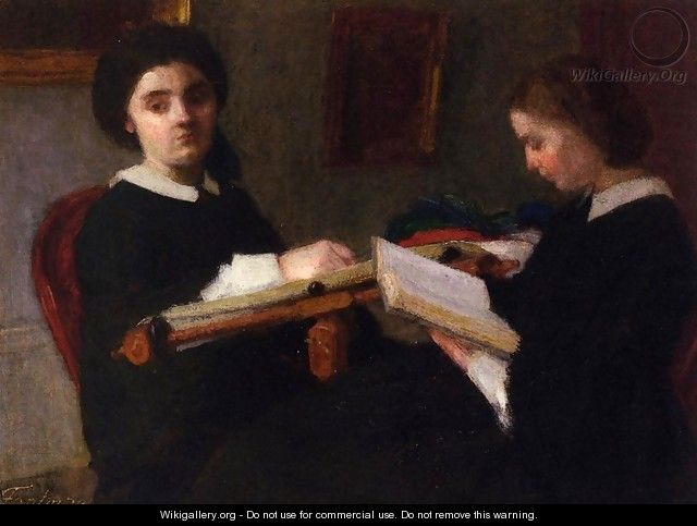 Two Young Women, Embroidering and Reading - Ignace Henri Jean Fantin-Latour