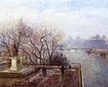The Louvre, Morning, Mist - Camille Pissarro