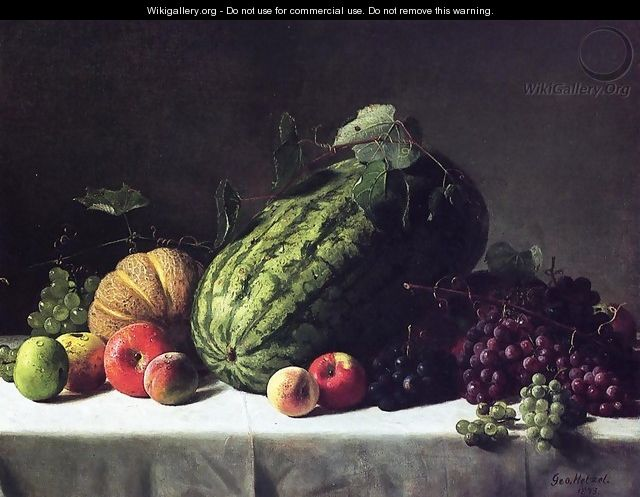 Still Life with Watermelon, Cantaloupe and Grapes - George Hetzel