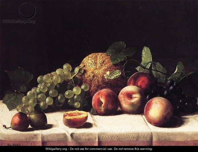 Still Life with Cantaloupe, Peaches and Grapes - George Hetzel