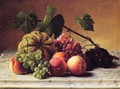 Still Life with Cantaloupe, Grapes and Peaches - George Hetzel