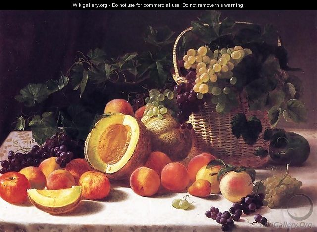 Still Life with Basket of Grapes - George Hetzel