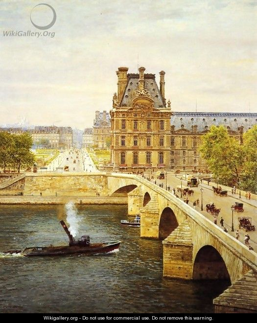 The Pont Royale and The Louvre, View of the Seine - Marie-Francois-Firmin Girard
