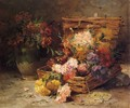 Still Life of Flowes in a Vase and a Basket - Eugene Henri Cauchois