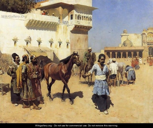 Horse Market, Persian Stables, Bombay - Edwin Lord Weeks