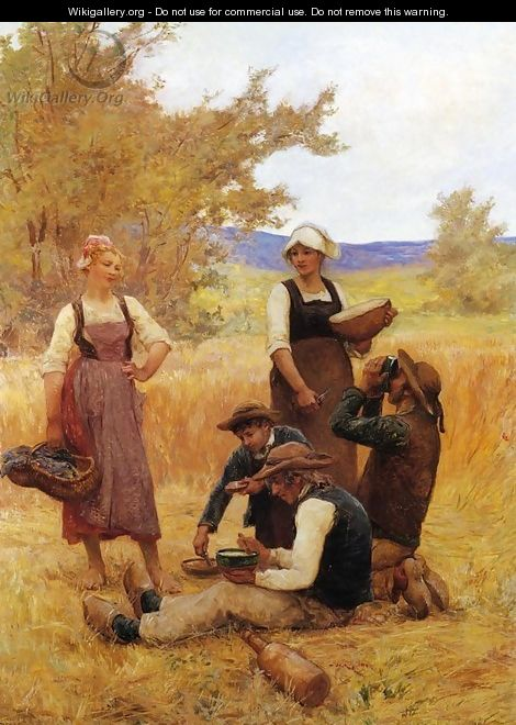 Repast in the Fields - Theophile Louis Deyrolle