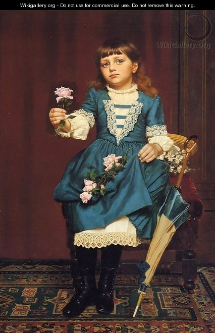 Daisy McComb Holding a Pink Rose - John George Brown