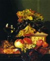 Black Grapes on a Carved Ivory Box, Peaches, Whitecurrants and Hazelnuts with a Hoch Glass on a Marble Ledge - Edward Ladell