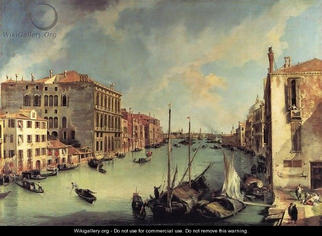 Grand Canal: Looking East from the Campo S. Vio - (Giovanni Antonio Canal) Canaletto
