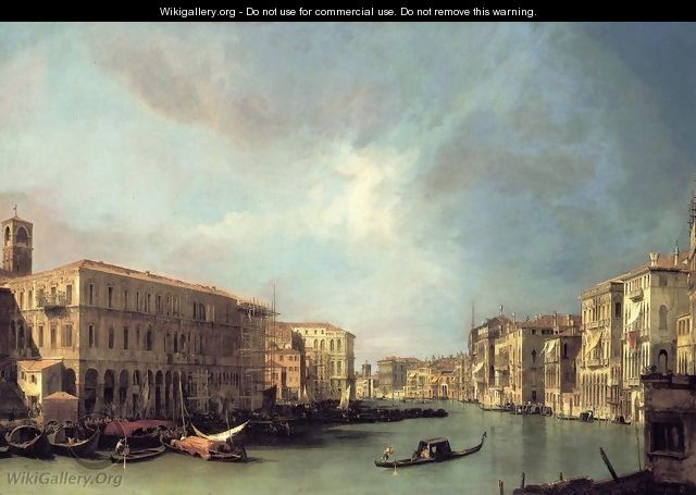 Grand Canal: Looking North from near the Rialto Bridge - (Giovanni Antonio Canal) Canaletto