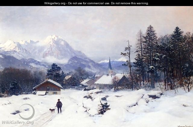 A Hunter in a Winter Landscape - Anders Anderson-Lundby