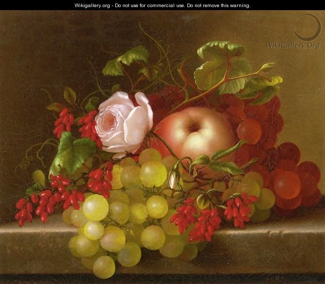Still Life with Peach, Grapes and Rosehips - Adelheid Dietrich