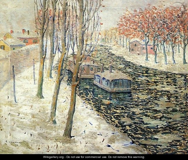 Canal Scene in Winter - Ernest Lawson