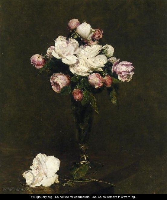 White Roses and Roses in a Footed Glass - Ignace Henri Jean Fantin-Latour